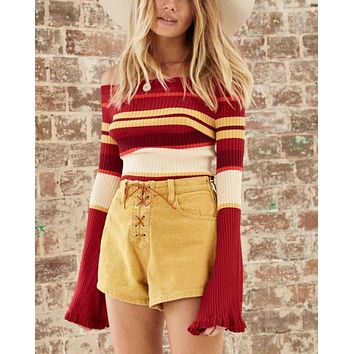 Somedays Lovin - Rising Sun Corduroy High Waist Shorts - Butter