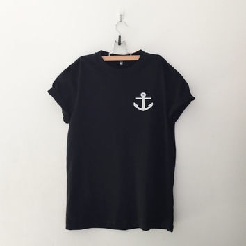 Nautical anchor sweatshirt T-Shirt graphic tee womens girls teens unisex grunge tumblr pocket tee instagram blogger punk hipster gifts merch