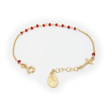 "Rosary Bracelet for Kids Sterling Silver Gold Plated Red Beads and Cross 6""+1"" Milagrosa Virgin Medal"