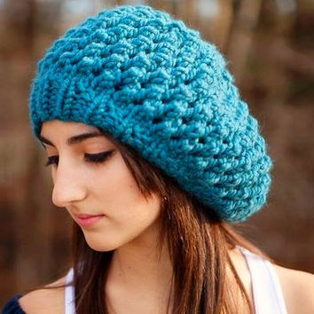 Sale 15 Off  Hand Knit Hat  The Odessa Beret in Teal by pixiebell