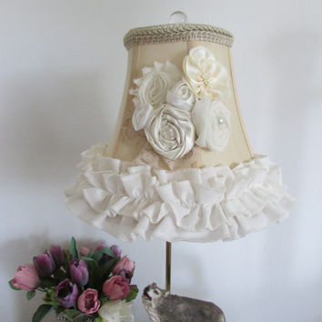 Shabby chic lamp shades set, lace shades.