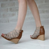 Brown Beige Straps Wedges Platforms US size 5 - 8.5 by dithzzappear on Sense of Fashion