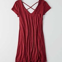 AEO Washed Tee Dress, Wine