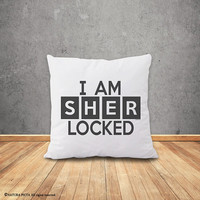 Sherlock Holmes pillow cover-I am sherlocked pillow-home decor-british pillow-gift idea-decorative pillow-Christmas gift-NATURAPICTA-NPCP075