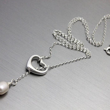Lariat necklace, 925 Sterling silver Open heart oval freshwater pearl necklace, Y necklace, birthday gift for wife, maid of honor