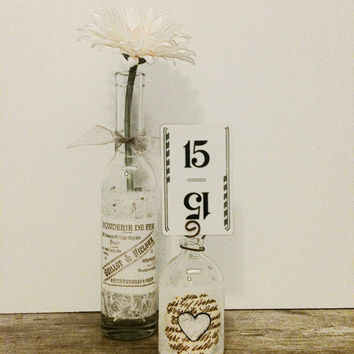 Table Numbers,Wedding Vase,French Country Wedding,Small Glass Bottle, Shabby Chic Wedding