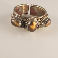 Tigers Eye Stone Finger Ring, Nepalese Finger Ring, Adjustable Ring, Spiritual Ring, Nepalese Jewelry,Tibetan Jewelry
