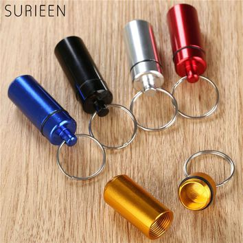 SURIEEN 1PC Outdoor Survival Small Waterproof Aluminum Mini Pocket Pill Bottle Box Storage Case Keychain EDC Outdoor Tool 5color