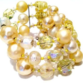 Baroque Pearls Yellow Crystal Beads Wire Wrap Coil Bracelet Adjustable Vintage Jewelry