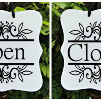 Open Sign & Closed Sign (Double Sided), Business Sign, Boutique Sign, Bakery Sign, Cafe Sign, Salon Sign, Shop Sign, Store Sign
