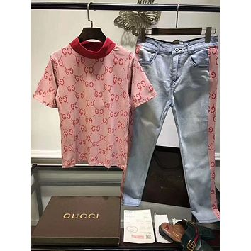 '' Gucci ''Fashion Women Short sleeve T-shirt Jeans Pants Casual Set Two-Piece