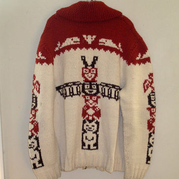 Wool Cowichan Indian Print Whales Totem Pole Lebrowski zip front Wool Sweater Cardigan Coat XL