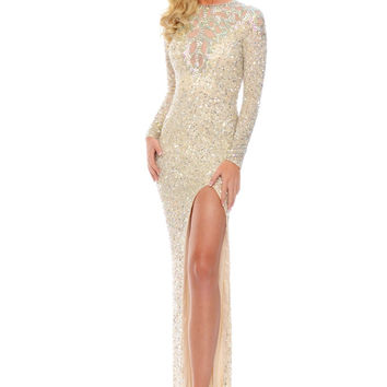 Precious Formals L9169 Long Sleeve Sequin Prom Pageant Dress