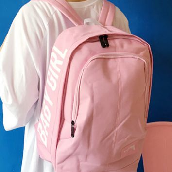 The original SuFeng contracted leisure men and women pure color printing letters college student backpack backpack backpack wind wave