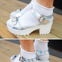 Hologram Buckled Sandal Heels