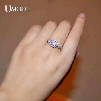 UMODE Royal Princess Crown Antique Mounting Design Three Cubic Zirconia Stone Halo Engagement Ring UR0151