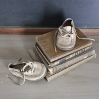 Vintage Leather Baby Shoes Display Decor