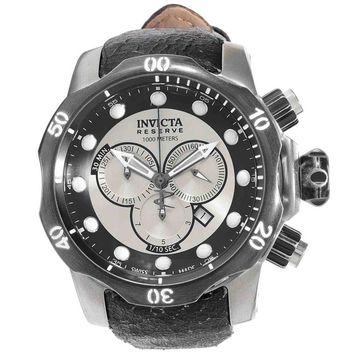 Invicta 15985 Men's Venom Swiss Chronograph Silver Tone Dial Black Leather Strap Dive Watch
