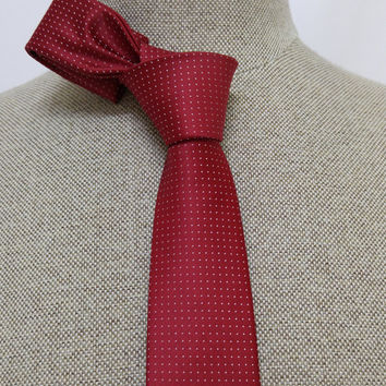 "Red Skinny Tie 2.36"" (6 cm) Red spotted tie - Red spotted necktie - Red spotted cravat - DK631"