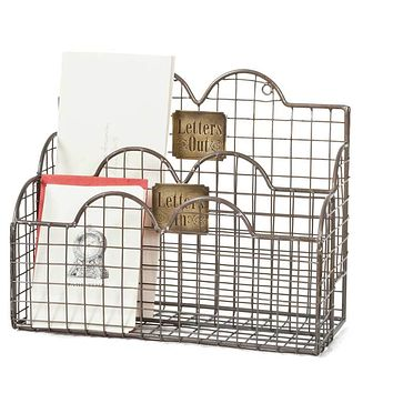 "Vintage Country Style Mail Organizer ""Letters In"" Mail Caddy - Aged Nickel"