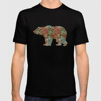 Bear Vintage Floral Pattern Rustic Country Shabby Chic Brown Green Blue T-shirt by Miao Miao Design