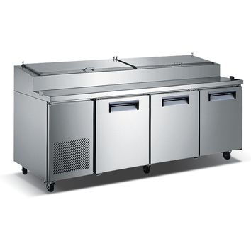 """Commercial Kitchen Refrigerated Pizza Prep Table 92"""" with 3 Doors"""