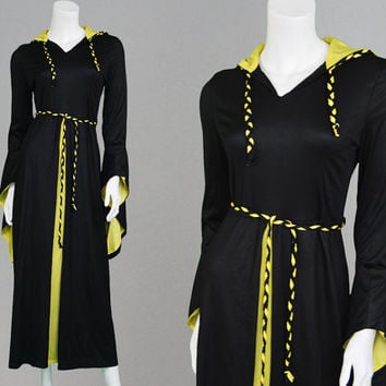 Vintage 60s NEW GENERATION Dress Pagan Dress Boho Witchy Dress Medieval Dress Black & Yellow Pointed Sleeves 1960s Dress Gothic Dress Wiccan