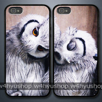 A Pair Of White Owl iPhone 5 4/4S Samsung Galaxy S3 Couple Hard Plastic Cases
