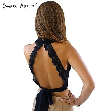 Backless Lace Halter Top