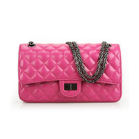 Suede Leather Mini Quilted Shoulder Handbag Cross Body Bag with Chain Strap-Rose Red
