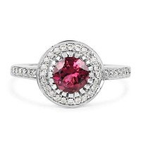 A Perfect Natural 1.4CT Pink Tourmaline & White Diamond Halo White Gold Engagement Ring