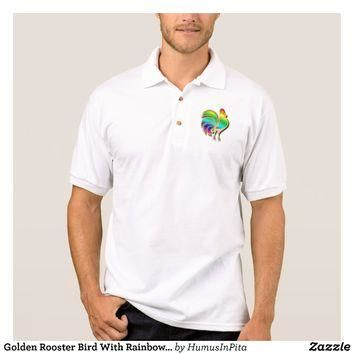 Golden Rooster Bird With Rainbow Feathers And Tail Polo Shirt