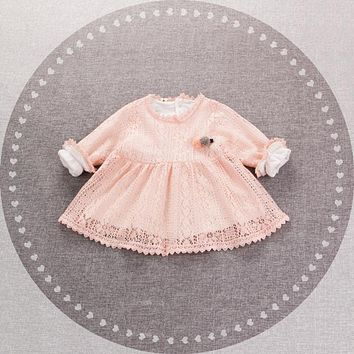Spring Baby Girls Lace Long Sleeve O Neck Flower Princess Party Tutu Kids Infant Dress vestido infantil
