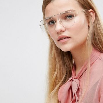 ASOS High Bar Clear Lens Geeky Aviator Glasses at asos.com