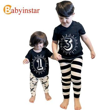Summer Children Baby Cotton Number t shirt Funny Clothe Kids Boy Girls Tops Tee Short Sleeve Print Outfit Family Clothing