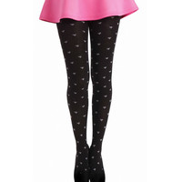 Black & Charcoal Heart Patterned Wool Tights