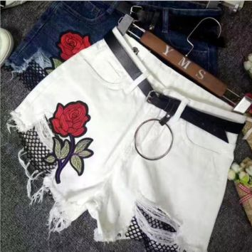 Fashion sexy embroidery red rose cowboy shorts White