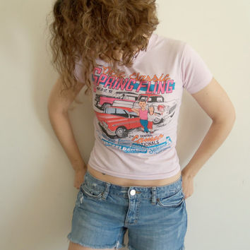 Pink 1992 Okie Classic Spring Fling Classic Cars Cartoon T Shirt