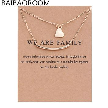 Golden Plated We Are Family Love Double Layer Alloy Clavicular Bones Pendant Short Chocker Necklace