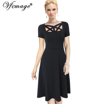 Vfemage Women Elegant Sexy Front Cutout Tunic Vintage Fit and Flare Casual Work Party Club Pleats Swing Skater A-Line Dress 7158