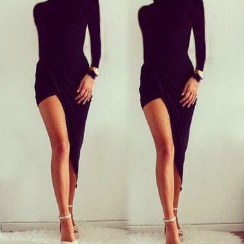 Asymmetric Hem Slim Fitting Bodycon Pencil Dress