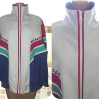 Vintage 80s Triangle Colorblock Windbreaker Geometric Track Jacket Cotton Embroidered White Turquoise Purple Pink XXL 1X 2X
