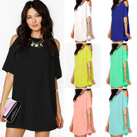 Hot Popular Loose Off Shoulder Short Sleeve Dress One Piece Dress Mini Skirt Dress_ 451