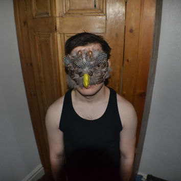 Brown Owl Bird Feather Paper Mache Mask