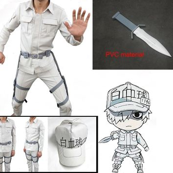 Cells At Work Cosplay Neutrophil Uniforms Hat Anime Hataraku Saibou White Blood Cell Outfits Cap Full Set Cosplay Costume
