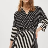 Spot & Stripe Mid Wrap Dress
