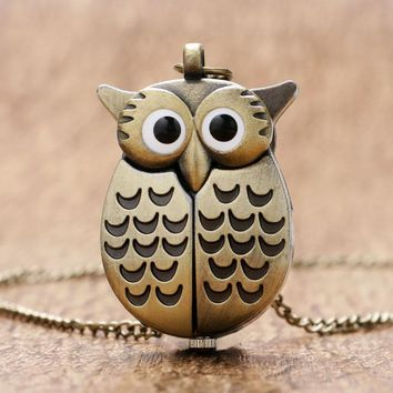 Cute Open Wings Night Owl Shaped Quartz Pocket Watch Men Women Fob Pendant Gift Necklace Free Shipping