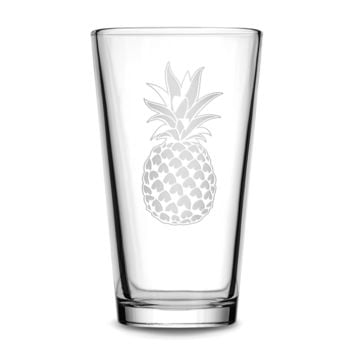 Pint Glass with Pineapple Design, Deep Etched