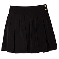 Chouyatou Women's Double Waist Side Buttons Pleated Skirt