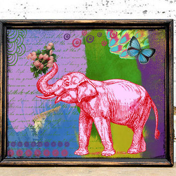 Pink Elephant Art Print - 8x10 Framed Wall Art - Mixed Media - Collage - Colorful Art - Painting